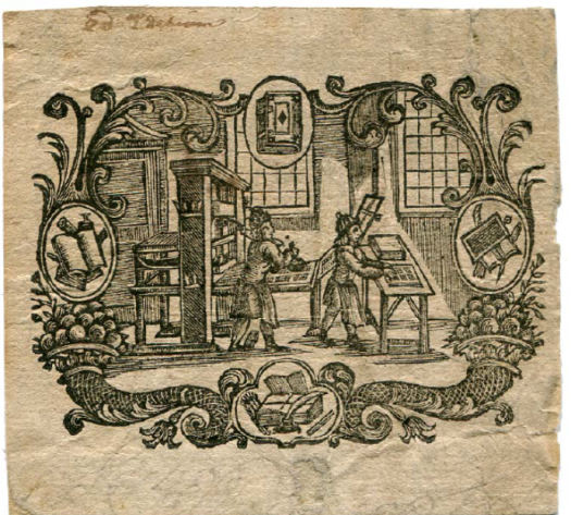 Woodcut depicting Thomas Gent