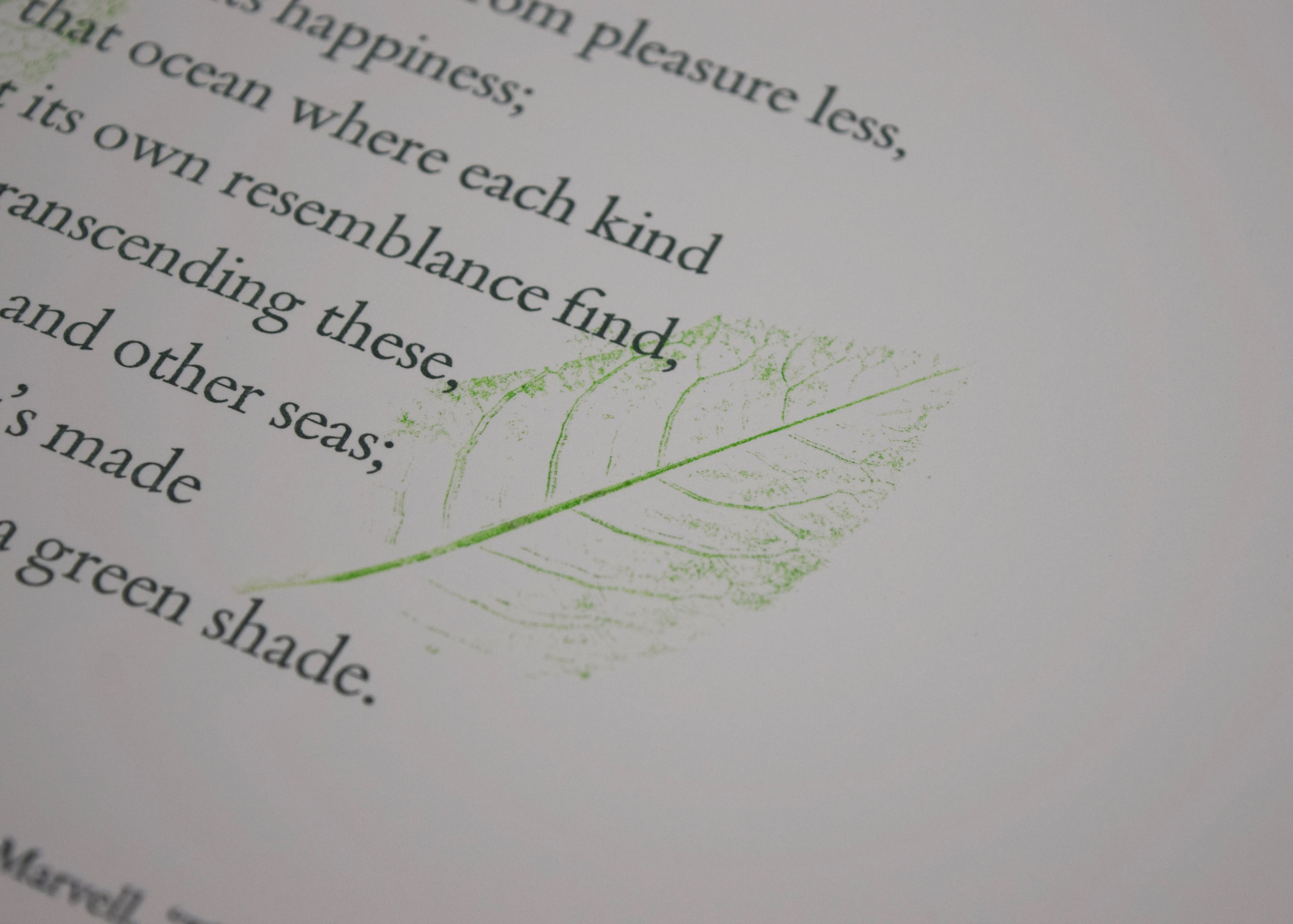 "A small poster featuring a stanza from ""The Garden"" by Andrew Marvell, accompanied by impressions of leaves. Printed on Somerset Book."